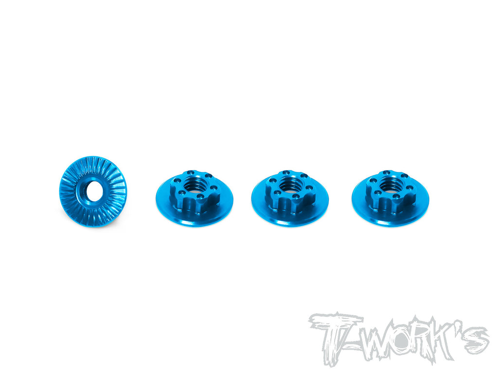 TA-127 7075-T6 Light Weight large-contact Low Profile Serrated M4 Wheel Nuts (4pcs)