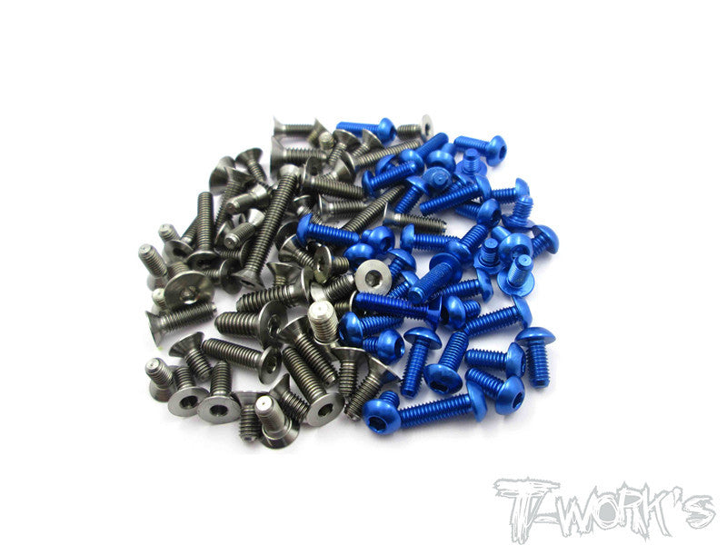 TASS-TC7.1 64 Titanium &7075-T6 Dark Blue Screw set 95pcs.(For Team Associated TC7.1)