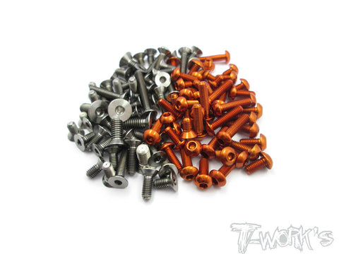 TASS-S120LT-LR-O 64 Titanium &7075-T6 Orange Screw set (For Serpent S120LT-LR)