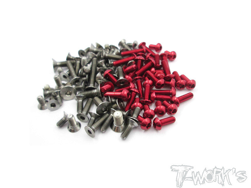 TASS-S4 64 Titanium & 7075-T6 Red Screw set 87pcs.( For Top Sabre S4 )