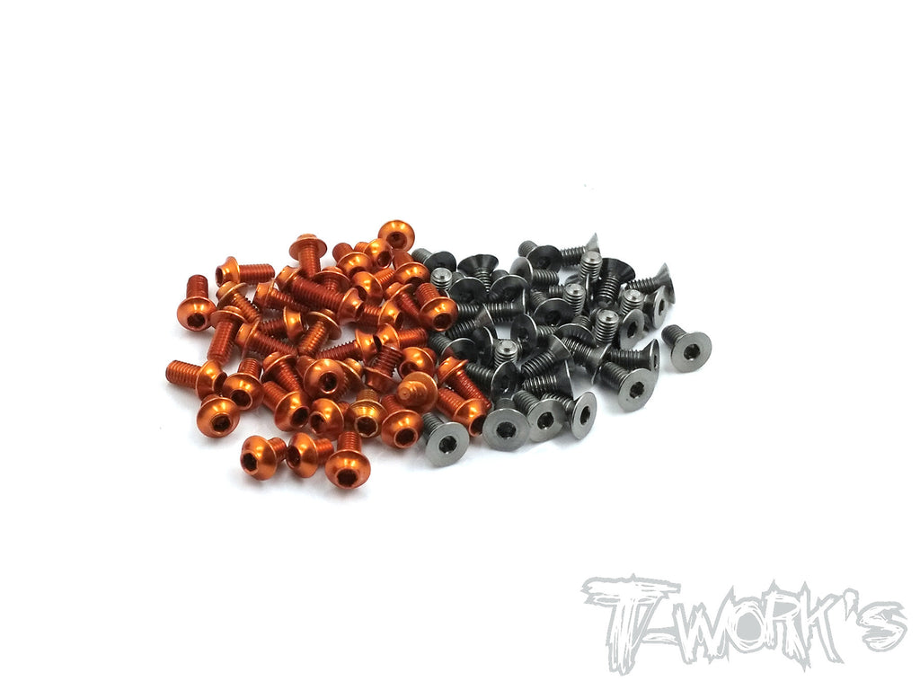 TASSU-T4-17 64 Titanium &7075-T6(UFO Head) Orange Screw set( For Xray T4 2017)