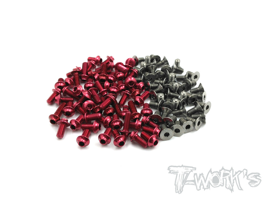 TASSU-P1217-R 64 Titanium &7075-T6(UFO Head) Red Screw set 61pcs.(For Rapide P12 WC 2017)