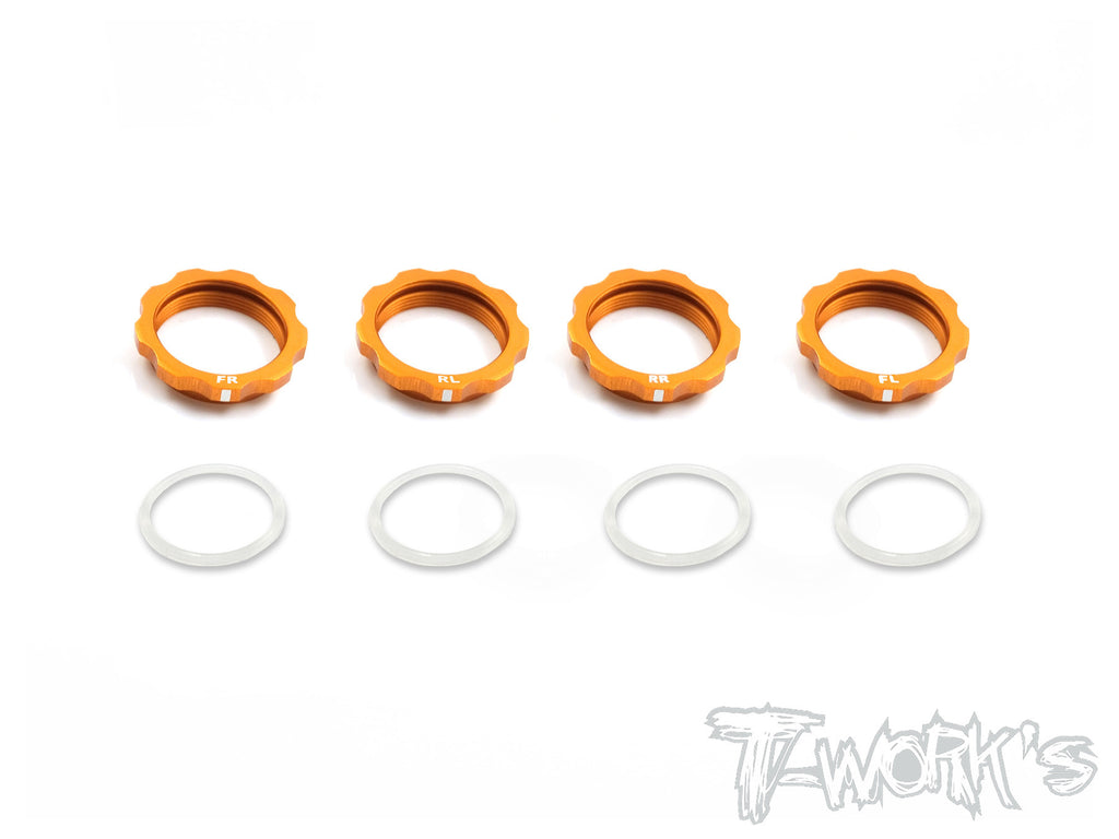 TE-161O 7075-T6 Alum. Shock Adjustable Nut With Mark  Orange ( Xray T4 / Yokomo BD7'16/ BD8 ) 4pcs.