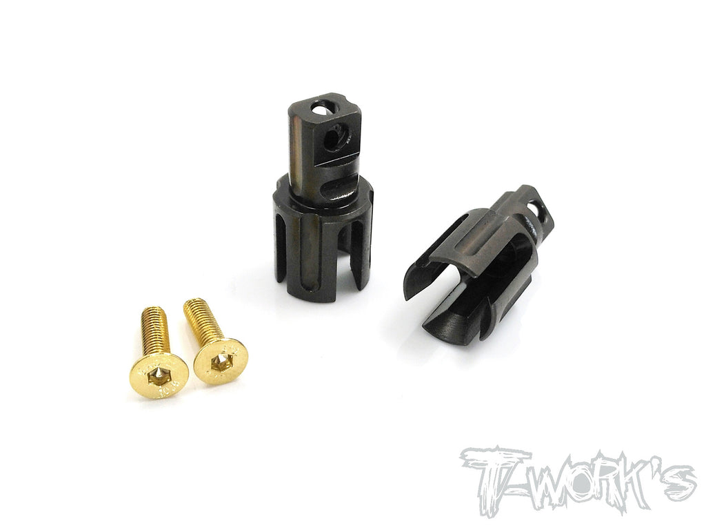 TE-197-X TWIN Trough Spring Steel Solid Driveshaft Adapters  ( For Xray T4/'15/'16'/'17/'18/T4'19/T4'20 )