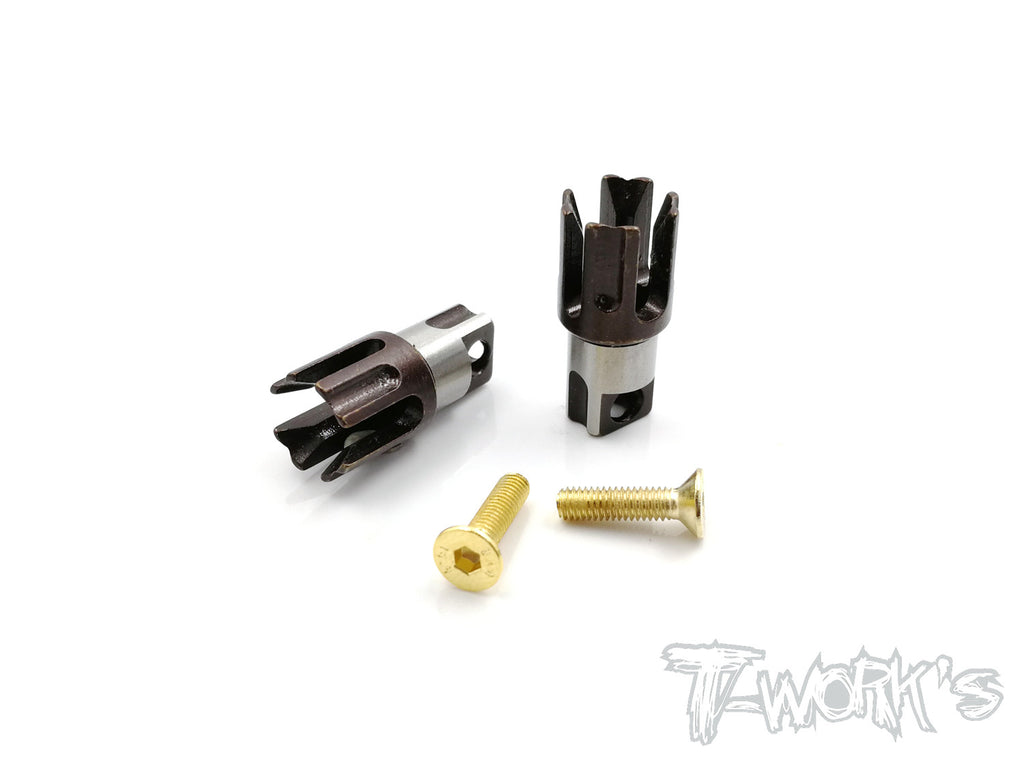 TE-197-Y TWIN Trough Spring Steel Solid Driveshaft Adapters  ( For Yokomo BD8'18 )