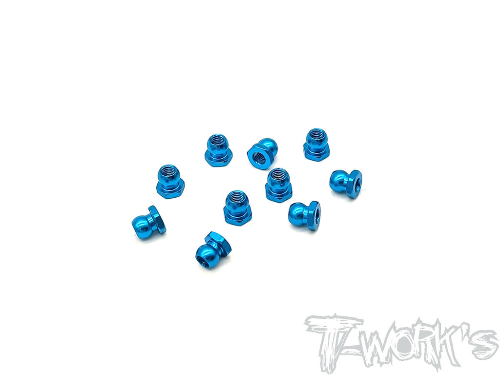 TE-229S-TB  Aluminium 5mm Ball Short Nut ( Blue )  10pcs.