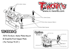 TE-TC01-Q 7075-T6 Alum. Motor Plate Mount & Graphite Front Upper Plate ( For Tamiya TC-01 )