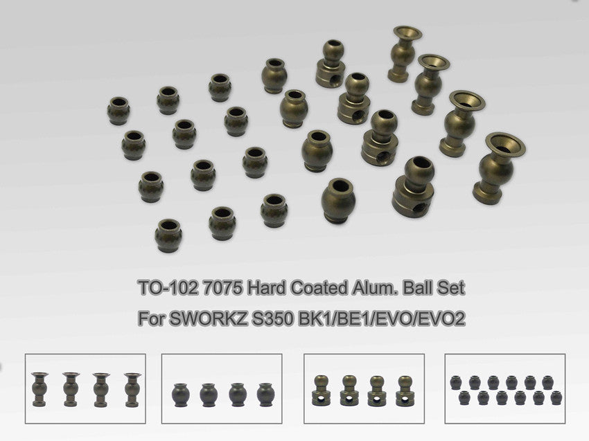 TO-102 7075 Hard Coated Alum. Ball Set ( For Sworkz S350 BK1/BE1/EVO/EVO2 ) 24pcs
