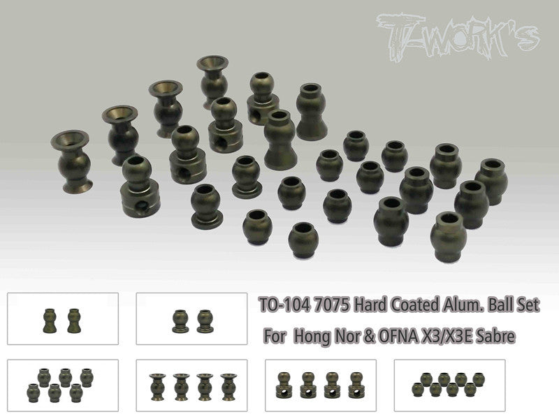 TO-104 7075 Hard Coated Alum. Ball Set ( For  Hong Nor & OFNA X3/X3E Sabre,IGT8)