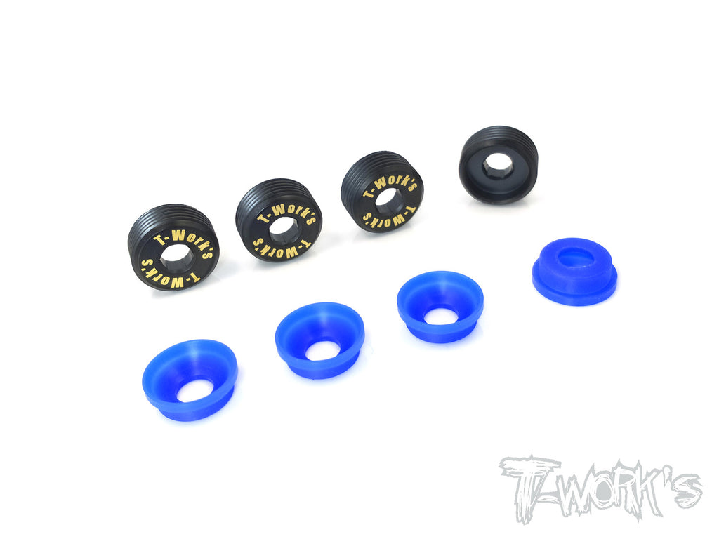 TO-129-RC8 Brass Front Upright Adjust Nut with POM Spacers( For Team Associated RC8 B3.1 )  4pcs.