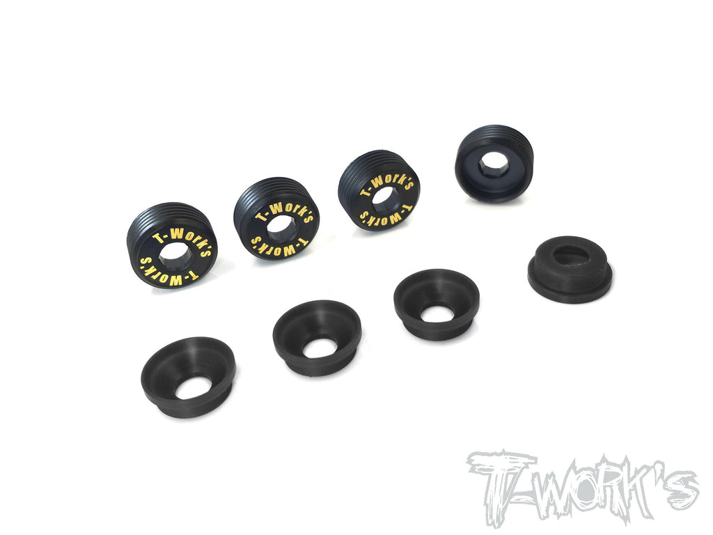 TO-129 Brass Front Upright Adjust Nut with POM Spacers( For Mugen MBX-6/MBX-7/MBX-7R/Sworkz/MBX8/Mugen MBX8 ECO )  4pcs.