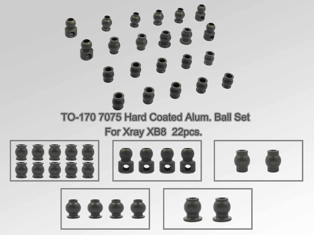 TO-170 7075 Hard Coated Alum. Ball Set ( For Xray XB8 ) 18pcs