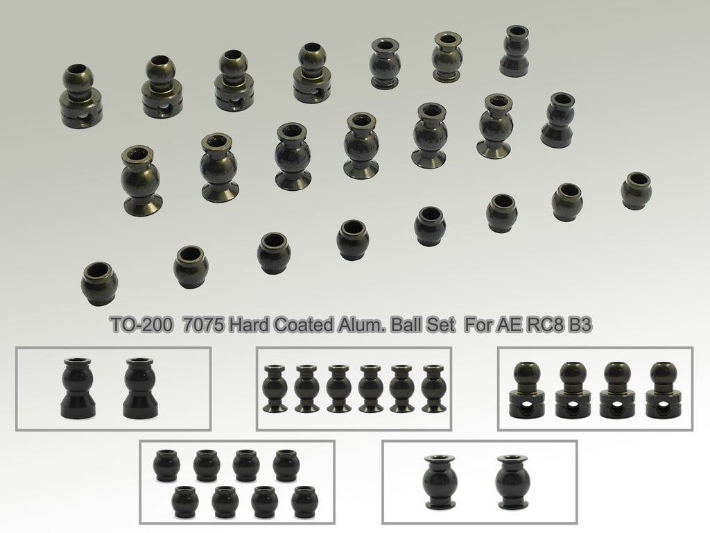 TO-200  7075-T6 Hard Coated Alum. Ball Set ( For Team Associated RC8 B3 ) 22pcs.