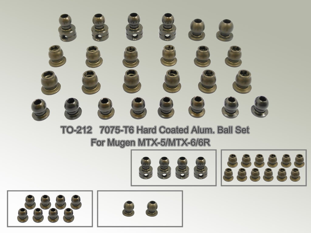 TO-212  7075-T6 Hard Coated Alum. Ball Set ( For Mugen MTX-5/MTX-6/6R ) 26pcs.