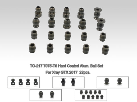 TO-217 7075-T6 Hard Coated Alum. Ball Set ( For Xray GTX 2017 ) 20pcs.