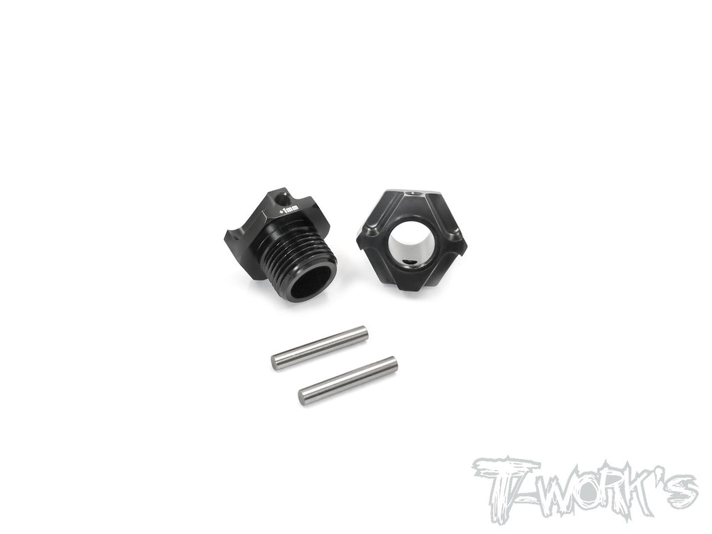 TO-245-K1 Black Hard Coated 7075-T6 Alum.Light Weight Wide Offset Wheel Hub +1mm ( For Kyosho MP9 TKI3/TKI4  ) 2pcs.