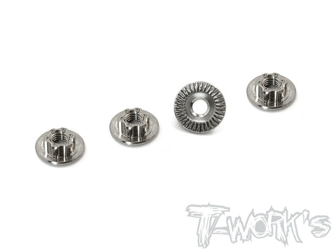TP-034S	64 Titanium Light Weight large-contact Serrated M4 Short Wheel Nuts ( 4pcs. )