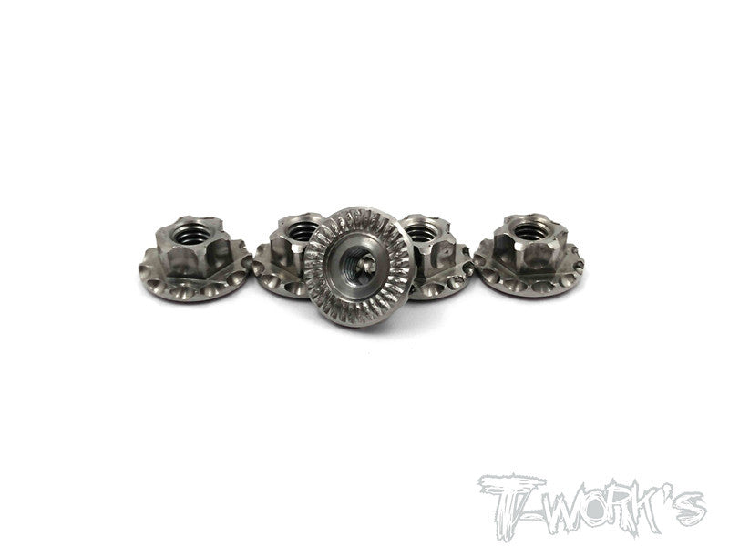 TP-034 64 Titanium Light Weight  large-contact Serrated M4 Wheel Nuts ( 4pcs. )