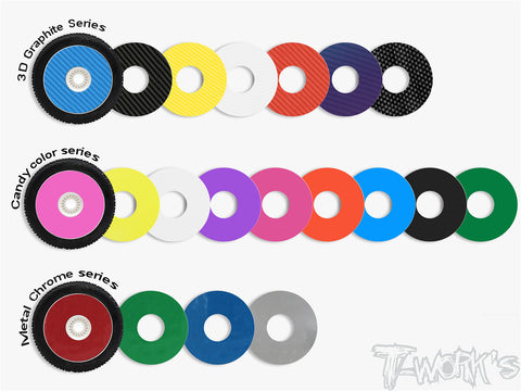 TS-056 3D Graphite 1/8 Buggy Rims Sticker 8pcs.  (6colors)