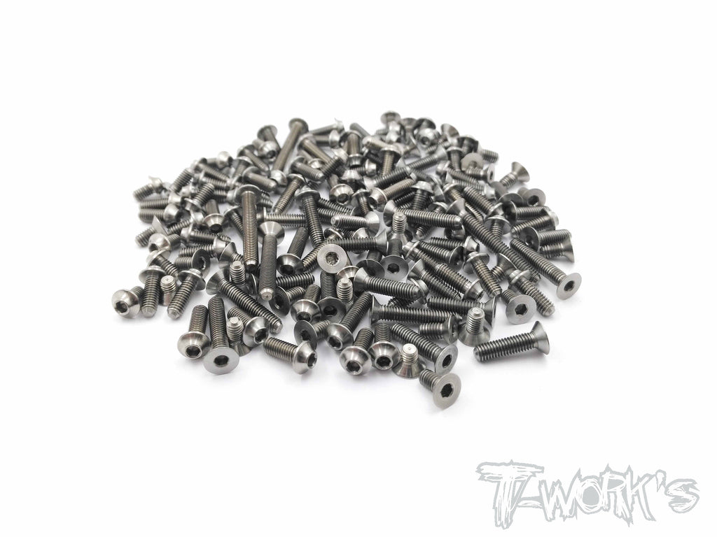 TSSU-D817T 64 Titanium Screw set ( UFO Head )116pcs.( For HB Racing D817T)