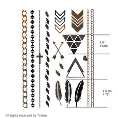 Gold metallic temporary tattoo gt08