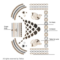 Gold metallic temporary tattoo gt09