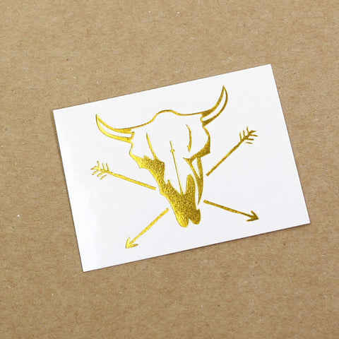Cow Arrow Gold metallic temporary tattoo gt12