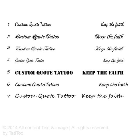 Custom Quote Temporary Tattoo, customized tattoo