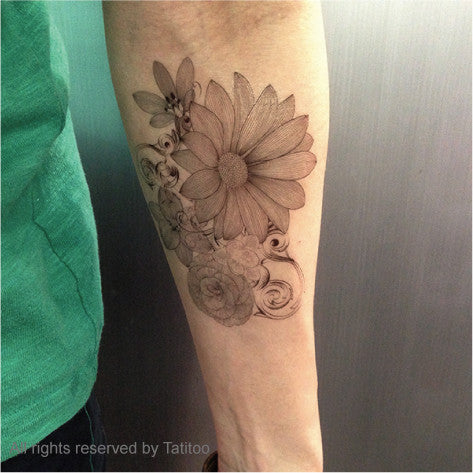 Bunch of flower tattoo, temporary tattoo