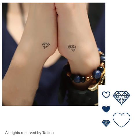little diamond , heart, temporary tattoo T253