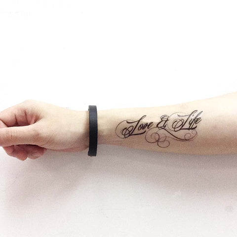 Love and Life, quote temporary tattoo, quote tats