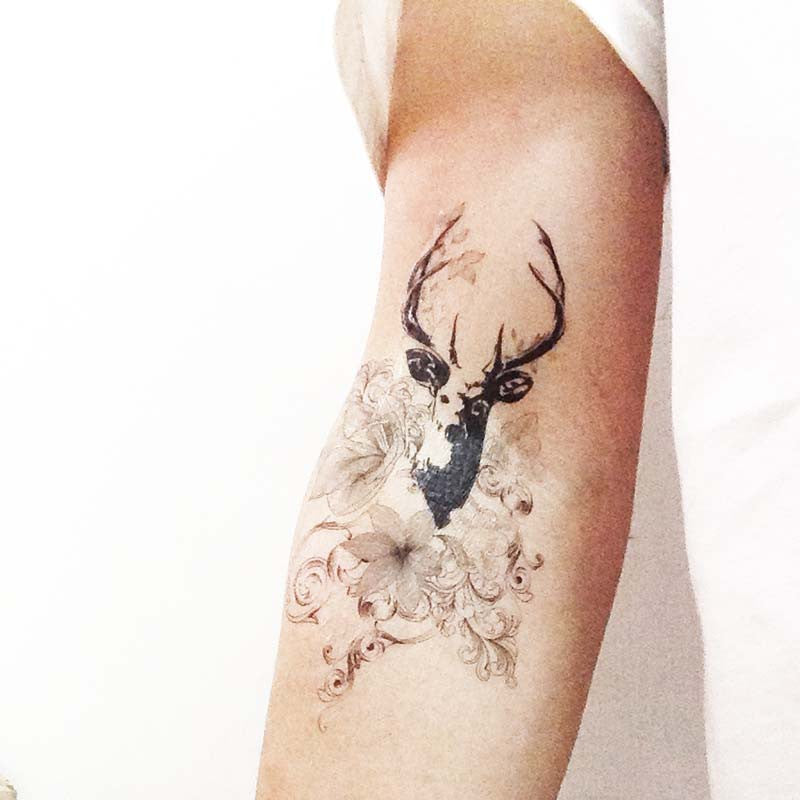 Floral and Deer , Designed Temporary Tattoo