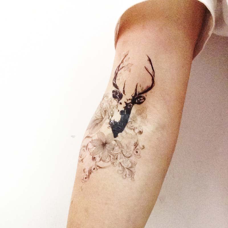 Deer Floral, Temporary tattoo T268