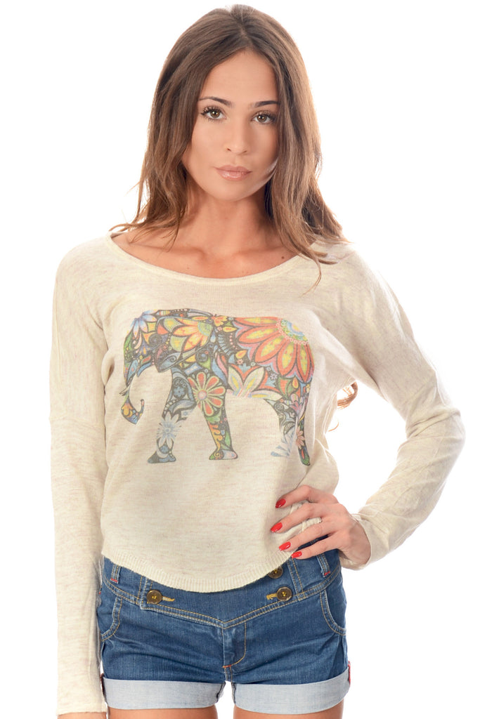Crop Jumper Elephant Print