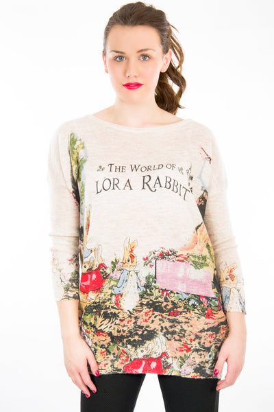 Baggy Jumper World Of Rabbit Print