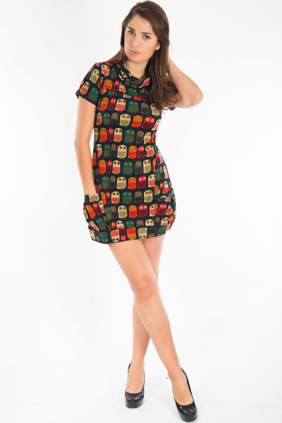 ST181 H High Neck Owl Tunic