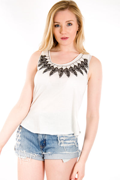Necklace Feather Vest Top