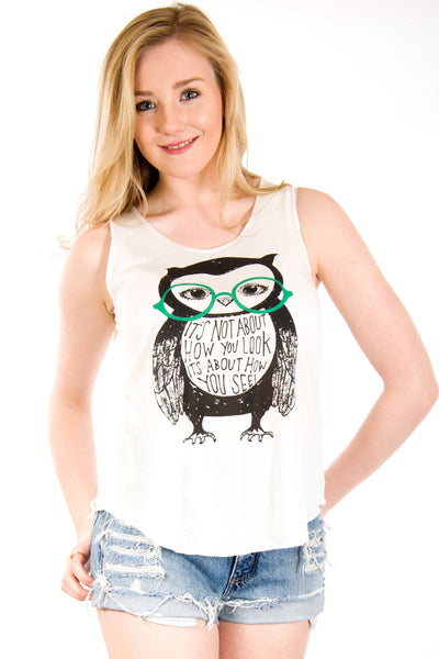 Owl With Glasses Vest Top