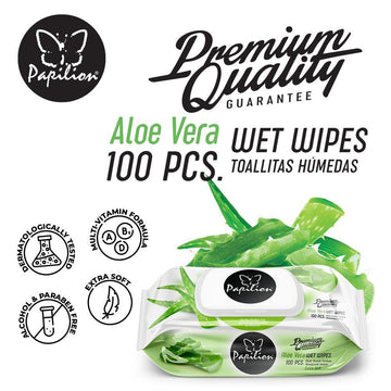 Papilion® Aloe Vera Wet Wipes 100 Sheets with Vitamin-E, Aloe and Plant Based Fragrance with Cap Seal