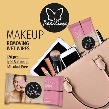Papilion® Make -Up Remover, Exfoliating Wipes - 20 Sheets for Healthy and Sensitive Skin - (Pack of 12 - 240 Wipes)