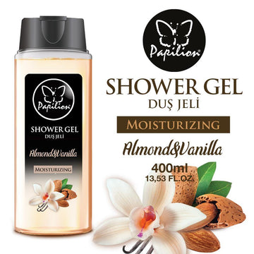 Papilion® 13.5 Fl Oz Shower Gel - Ultra Moisture Almond  'N  Vanilla Body Wash, For Smooth And Healthy Looking Skin