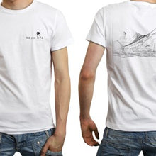 Load image into Gallery viewer, Man And The Sea Men's Performance Poly SPF30 Short Sleeve Tee by Artist Shannon Wiley