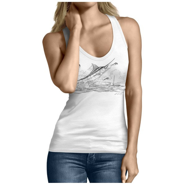Man And The Sea Women's Tank Top by Artist Shannon Wiley
