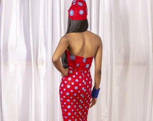 Red African Print Prom Dress