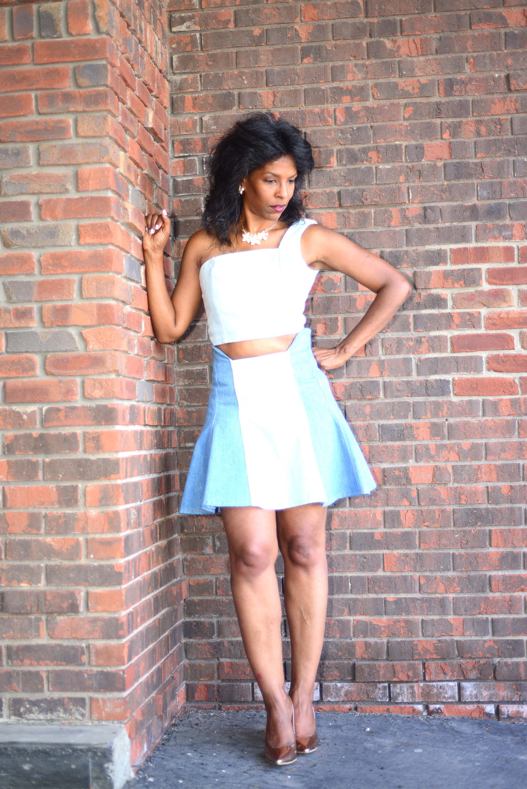 Dress - Flared Denim Skirt 2 piece