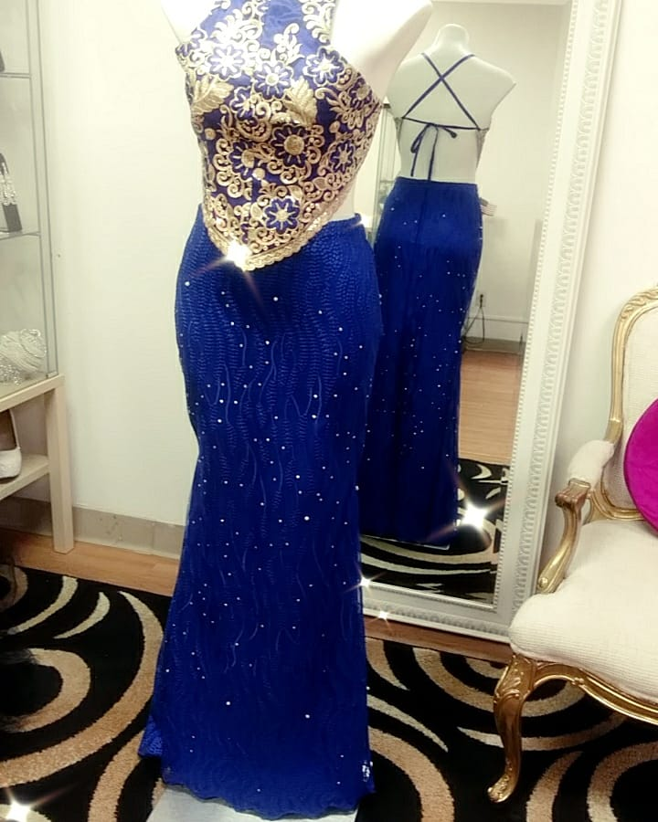 Two piece blue gown