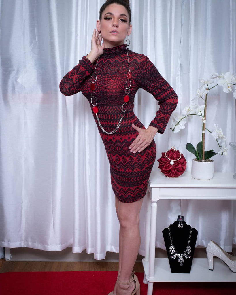 red black sweater knit dress holiday dress