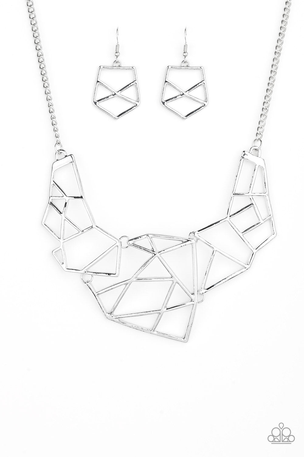 Silver Shapes Necklace Set