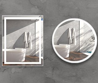 Bathroom mirrors in shape of oval, round and rectangular