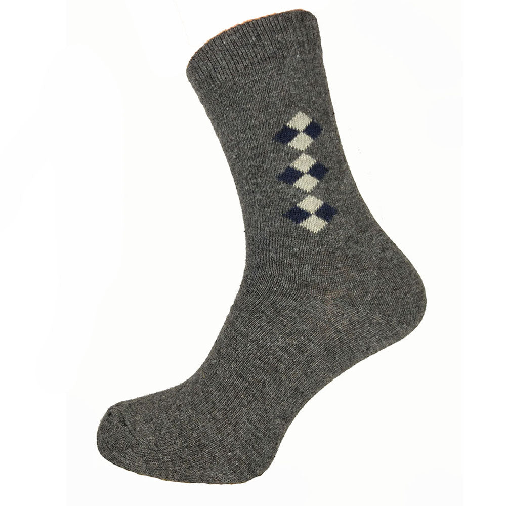 Dark Grey Diamond Wool Blend Socks